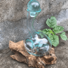 Recycled Molten Glass Wine Decanter On Gamal Wood | Bonnebombe